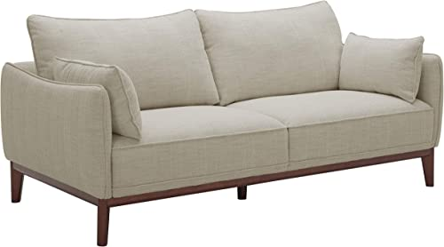 Amazon Brand Stone Beam Hillman Mid-Century Sofa Couch with Wood Base and Legs, 78 W, Ivory