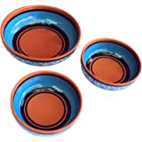 Terracotta Festive Set of 3 - Blue - Hand Painted In Spain