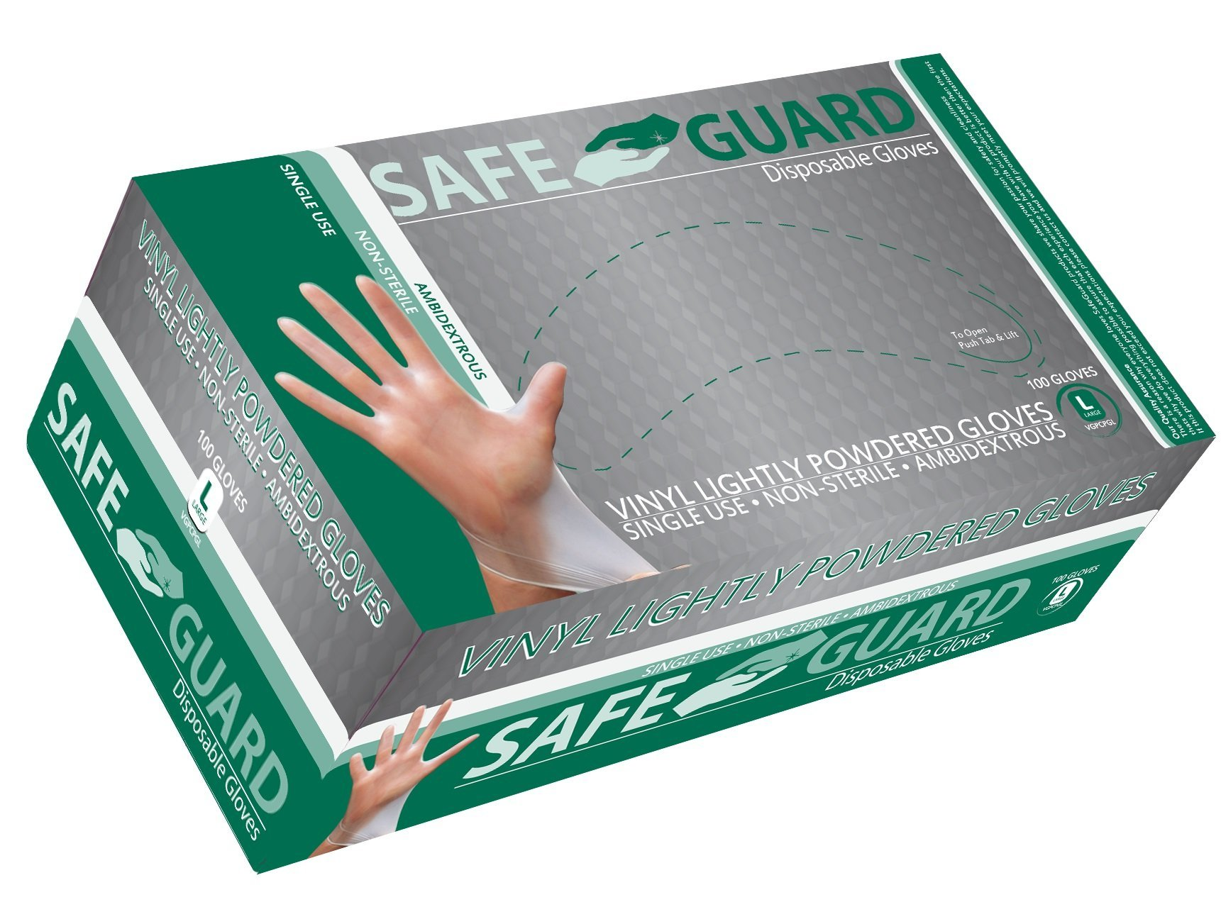 Safeguard Vinyl Powdered Gloves, Large, 1000 Count