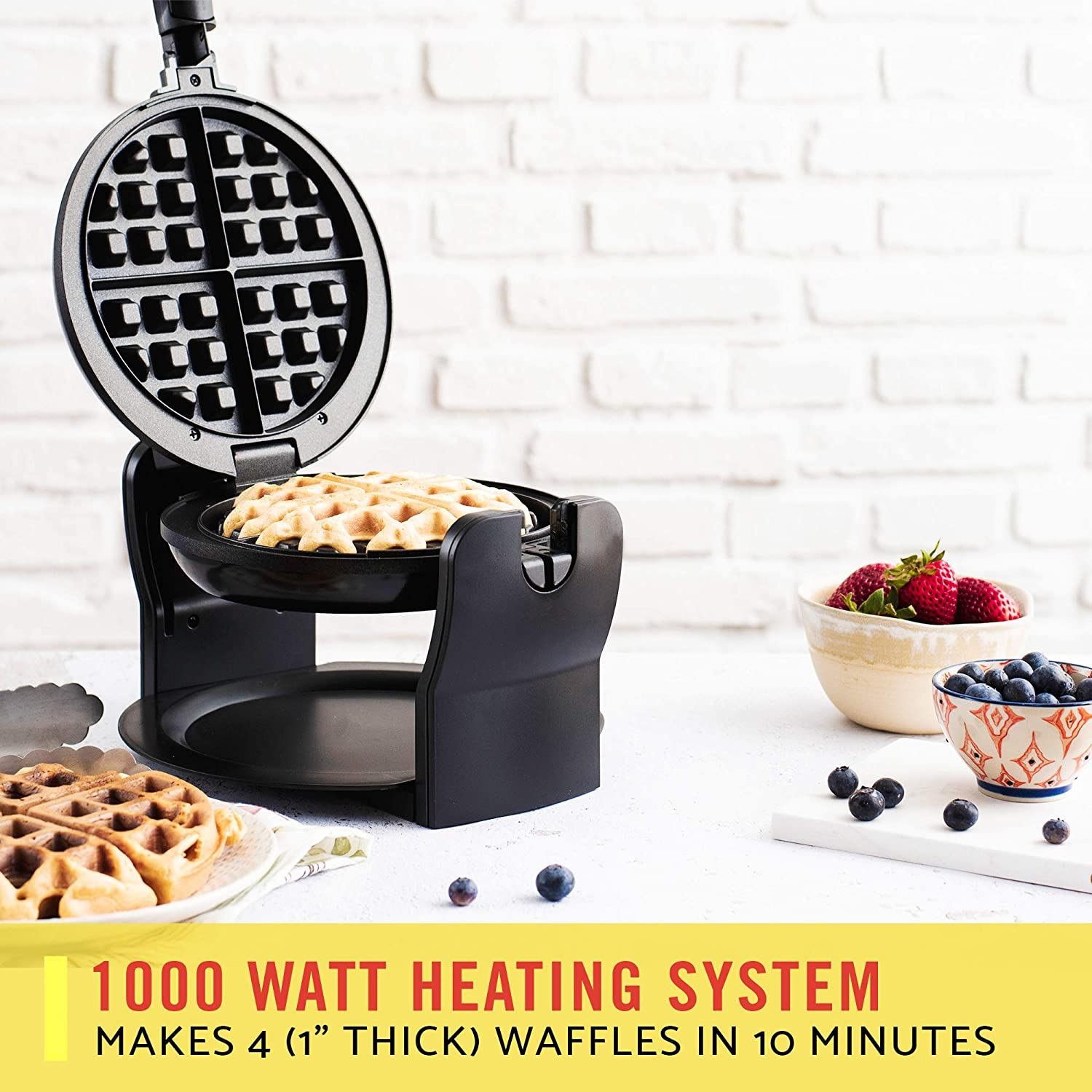 BELLA (13591) Classic Rotating Non-Stick Belgian Waffle Maker with Removeable Drip Tray, Black: Electric Waffle Irons: Kitchen & Dining