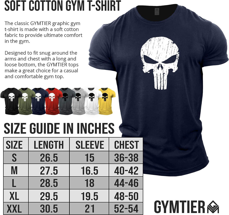 Skull Fitness-Trainingsoberteil GYMTIER Bodybuilding-T-Shirt der M/änner