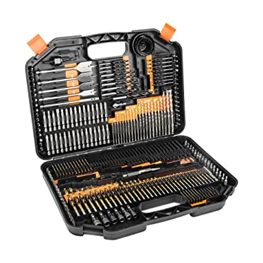 Enertwist Drill Bit Set 246 Pieces with Coated Titanium HSS Drill Bits and Hard Case for Drilling Wood Cement Plastics and Metal, ET-DBA-246