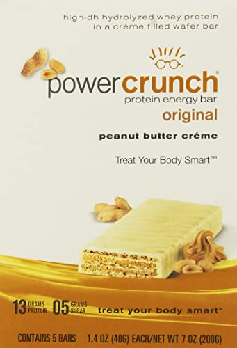 Power Crunch Protein Energy Bar Peanut Butter Creme – 1.4 Ounce Bars, 5 Count