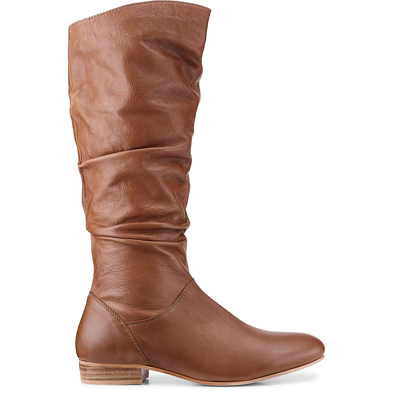 Cox Cox Cox Damen Fashion-Stiefel aus Leder, Langschaft-Stiefeletten mit rutschhemmender Laufsohle in Braun e1f0f0
