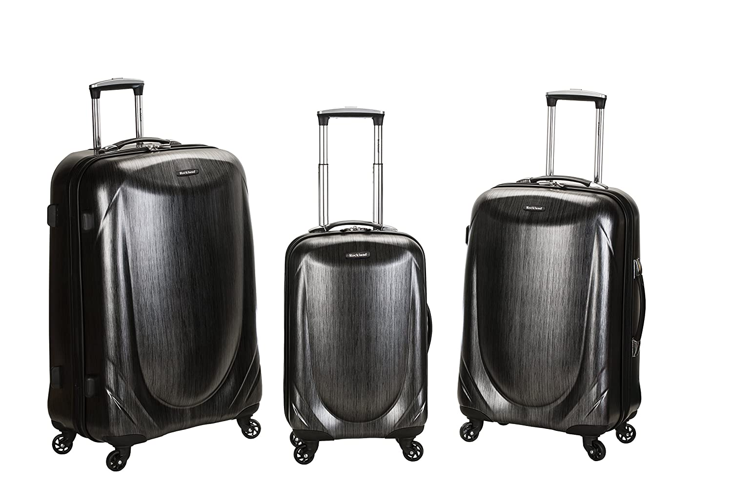One Size Fox Luggage F222 Rockland Luggage 3 Piece Polycarbonate Spinner Set Gray