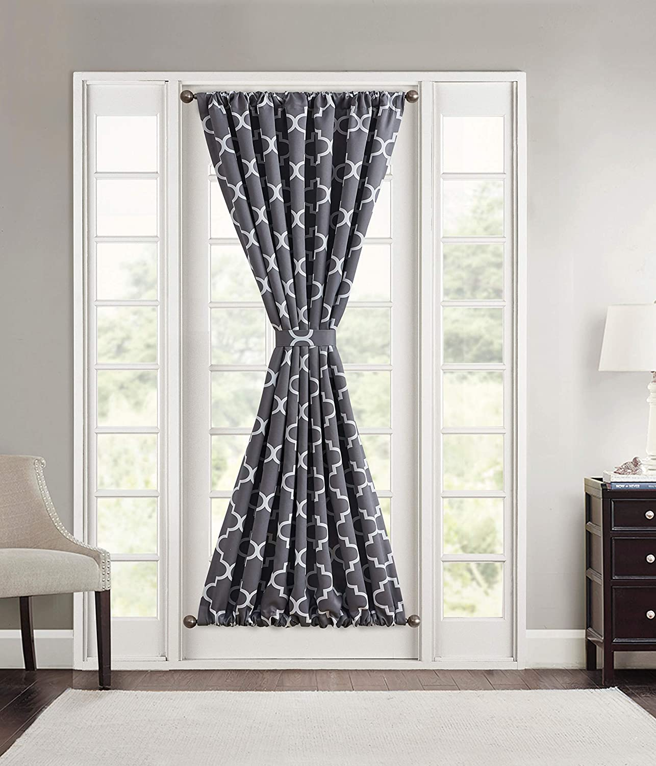 HLC.ME Lattice Print Blackout Sidelight French Door Curtain Panel - Thermal Insulation Provides Energy Efficiency and Privacy for Sidelight Patio Doors - 1 Panel (54 W x 72 L, Grey)