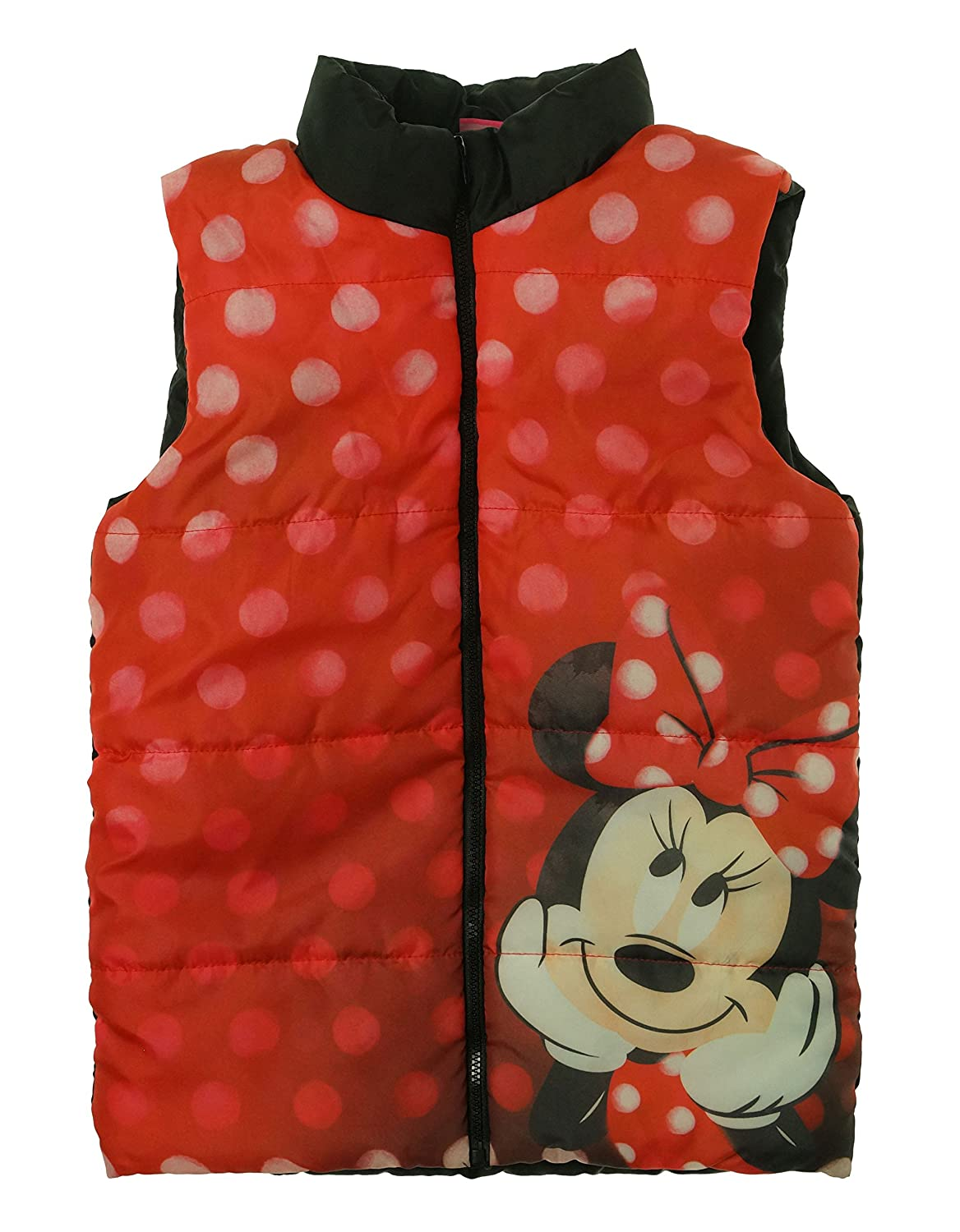 Disney Little Girls' Minnie Mouse Character Zip Up Puffer Vest Red Black