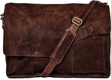 Vintage Full Grain Leather 14 Leather Messenger Laptop Bag L18 Vintage Brown