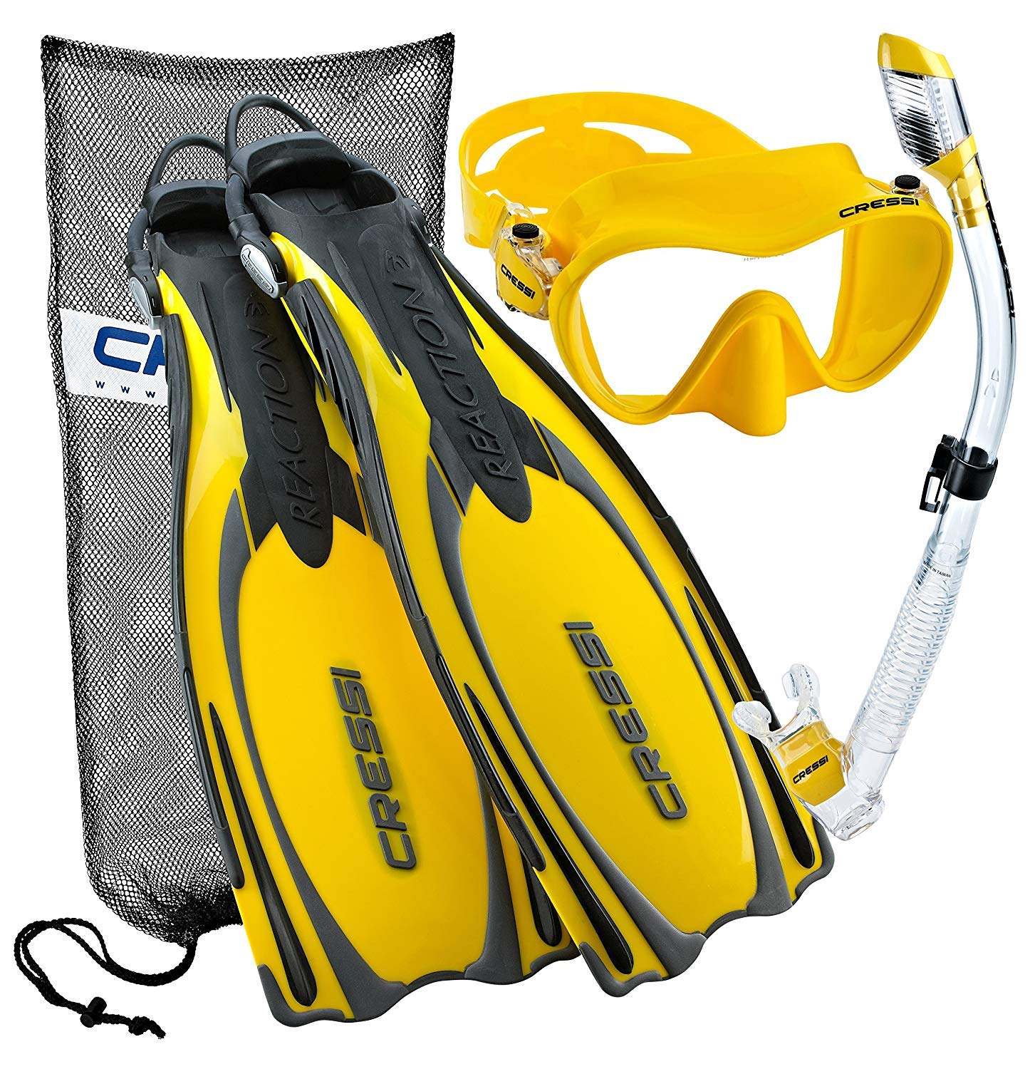 Cressi Reaction EBS Adjustable Mask Fin Dry Snorkel Scuba Gear Set, Yellow, Small/Medium by Cressi