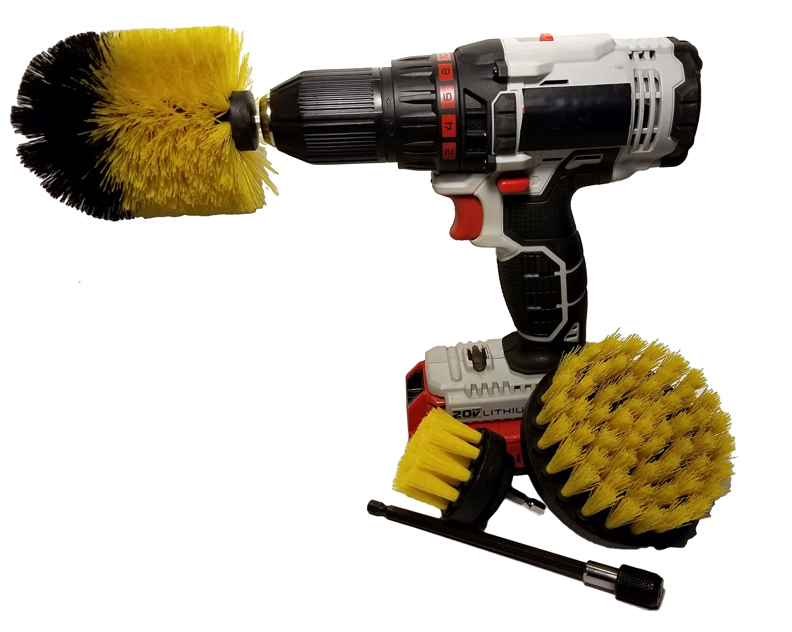 Down Home Designs Drill Brush Power Scrubber 4 piece kit with 6'' extender. Brushes attach to most drills for all general purpose cleaning and scrubbing!