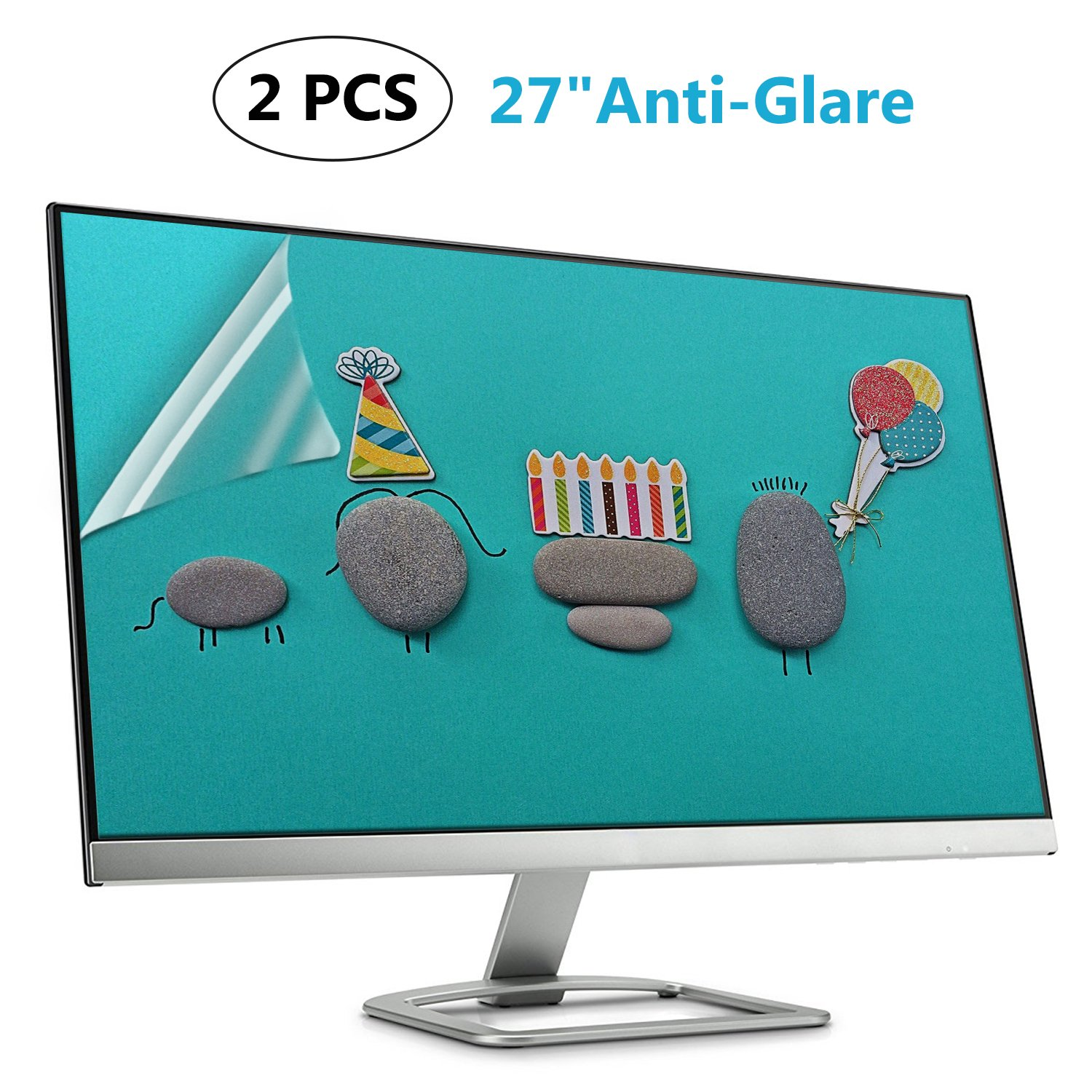 (2 PACK) 27 Inch Anti Glare Matte Screen Protector for 27'' Widescreen Monitor Display 16:9/Matte Screen Guard (Size: 23.43 inch13.15 inch) by ANTOGOO