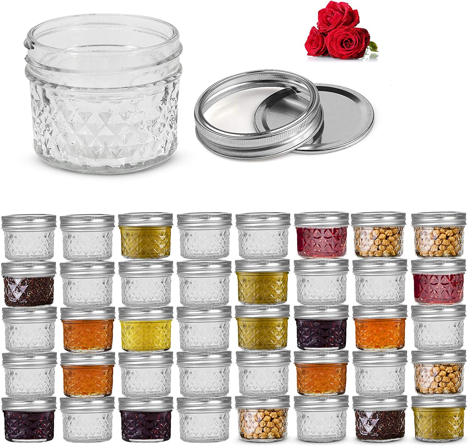 LovoIn 4oz 40 PACK Regular Mouth Mini Mason Jars with Lids and Bands, Quilted Crystal Jars Ideal for Food Storage, Jam, Body Butters, Jelly, Wedding Favors, Baby Foods