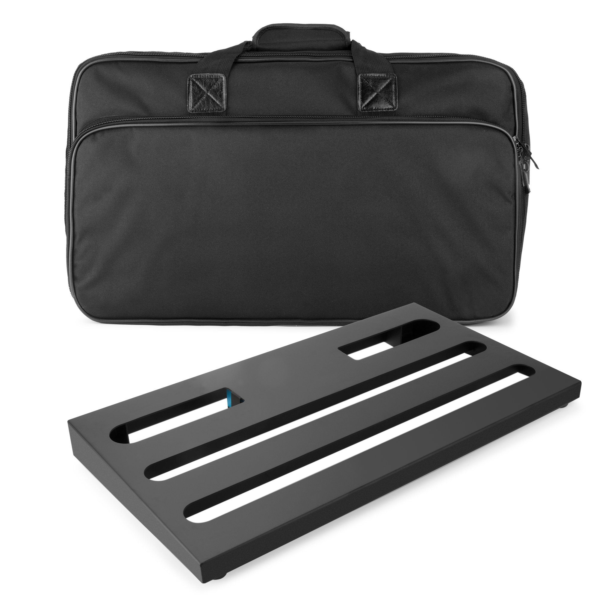 Caline Guitar Pedal Board 22'' x 12'' x 2.6'' with Carry Bag Aluminum Alloy PedalBoard Case CB-105, Black