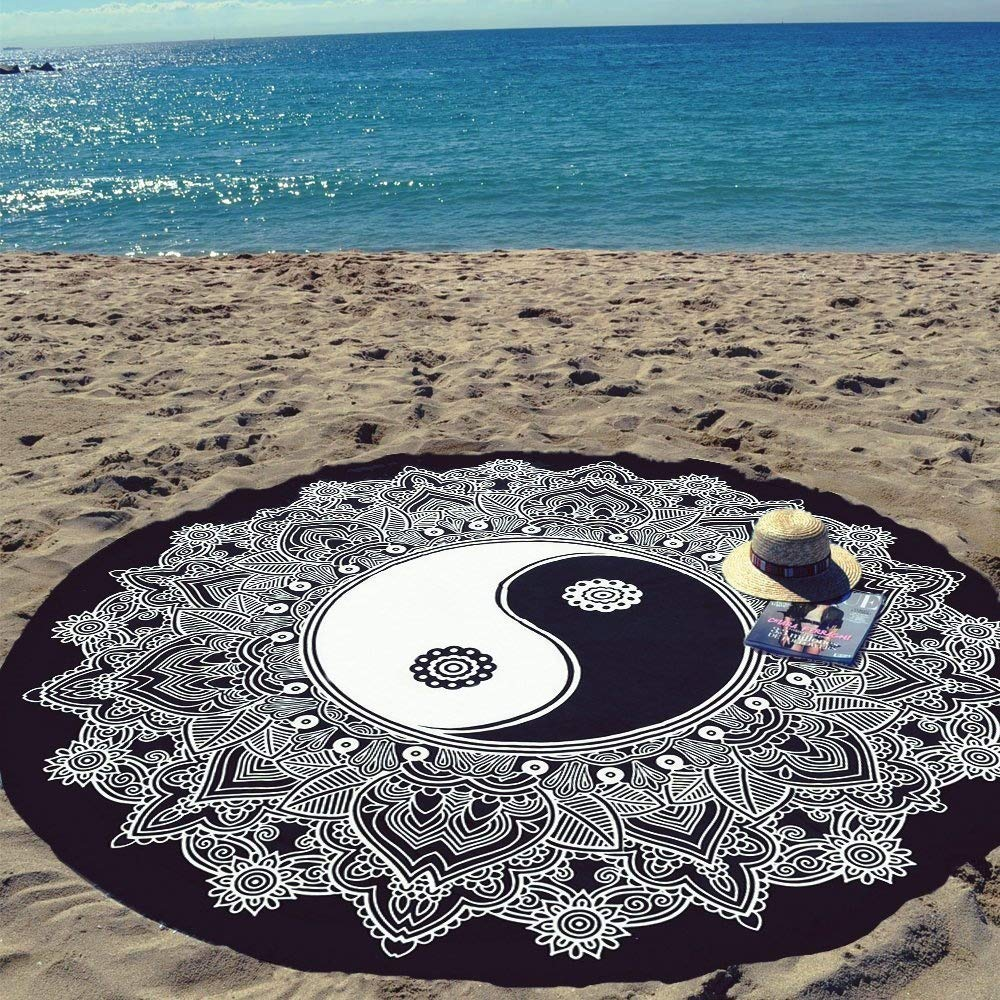 Indian Mandala YinYang Roundies, Beach Throw, Indian Mandala Tapestry, Yoga Mat, Picnic Mat, Table Throw, Black and White By Sophia Art