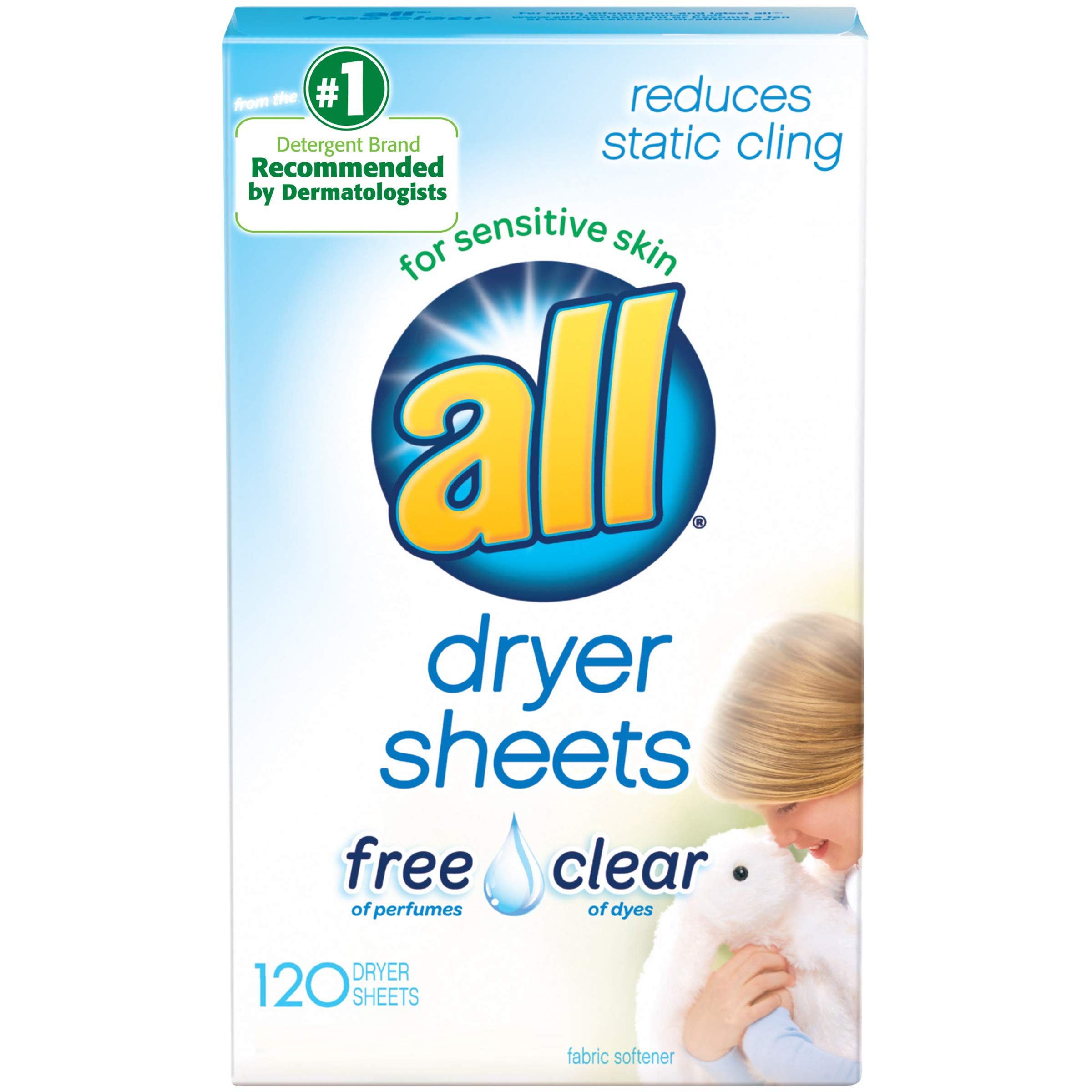 All Fabric Softener Dryer Sheets for Sensitive Skin, Free Clear, 120 Count