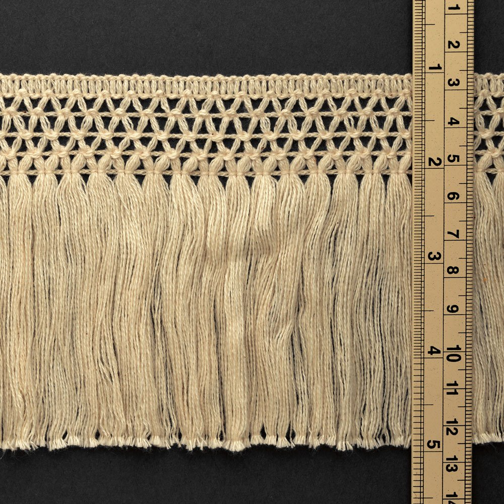 STEP-1019 Navy 4 Vintage Knotted Cotton Fringe by 1 Yard