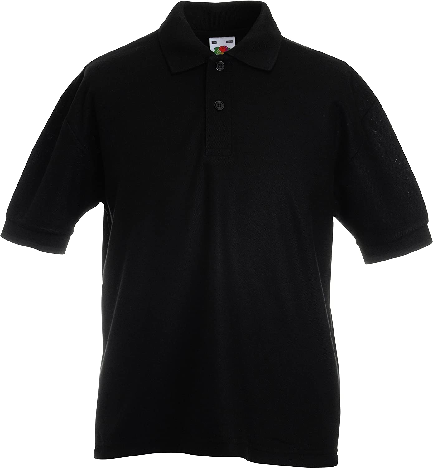 12 COLOURS FRUIT OF THE LOOM CHILDRENS UNISEX PIQUE POLO SHIRT AGE - 14//15, BLACK