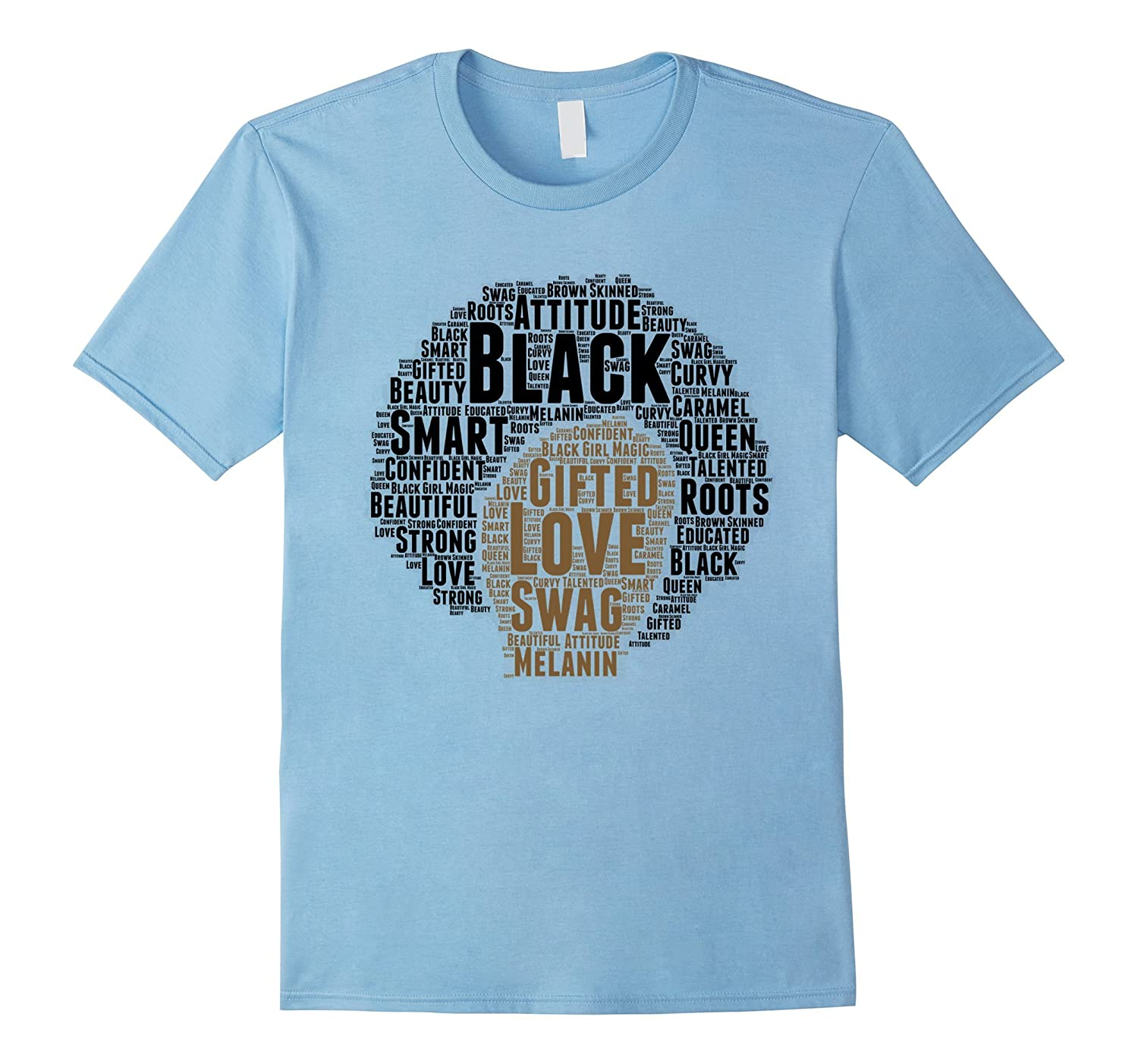 Afro Word Art Natural Hair T-Shirt for Black Women Afro Hair-CD