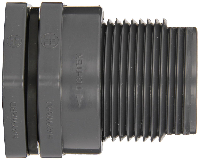 Hayward BFA1010CEL Series BFA Large Flange Bulkhead Fitting 1 Size PVC with EPDM Seals Socket x Threaded End
