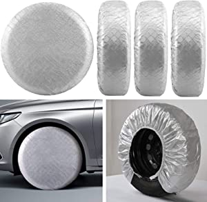 Kohree Tire Covers RV Wheel Covers Set of 4, for Rv Travel Trailer Camper, Waterproof UV Sun Tire Protector Aluminum Film, Fits 30 to 32 inches Motorhome Tire Diameters