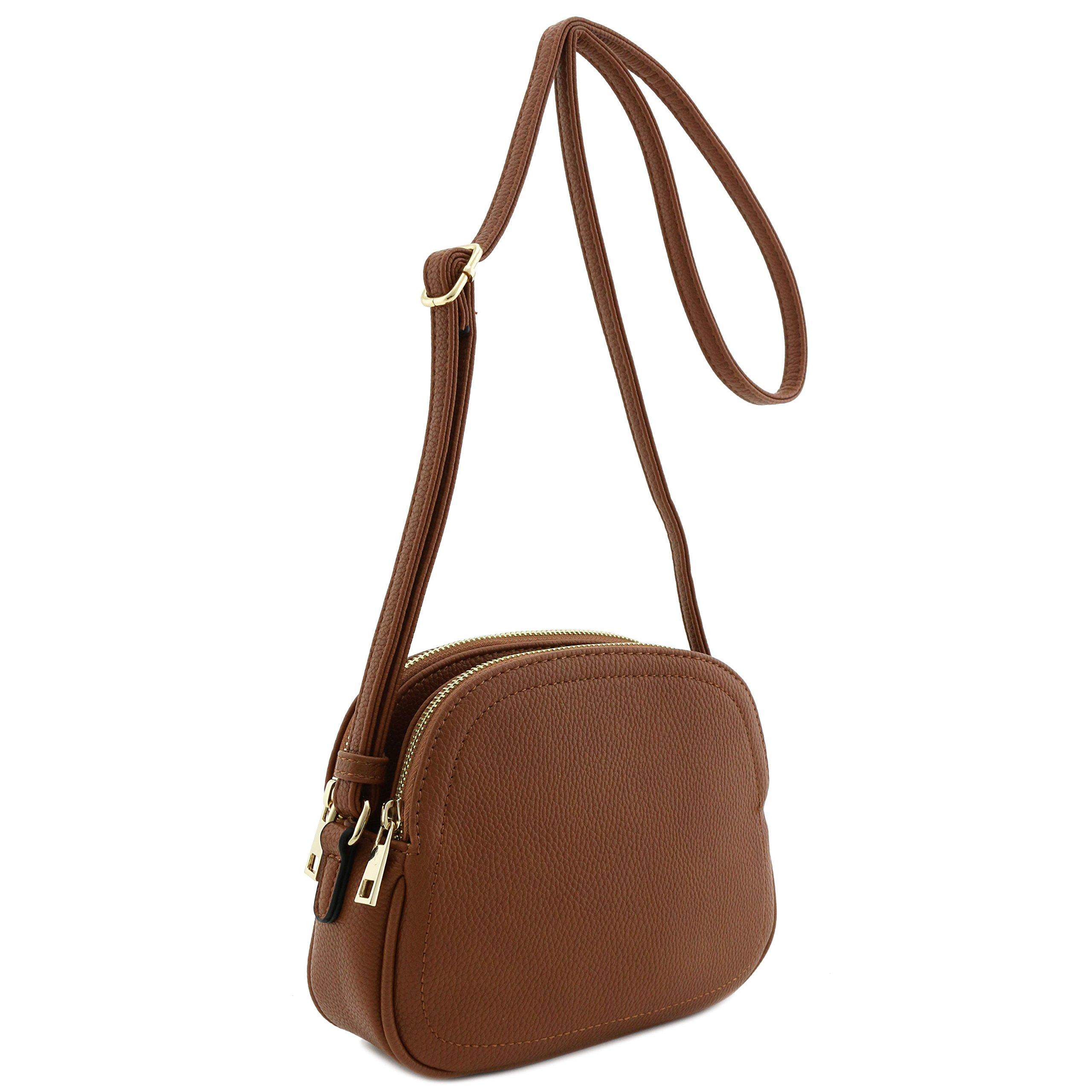 Double Zip Half Moon Crossbody Bag Brown