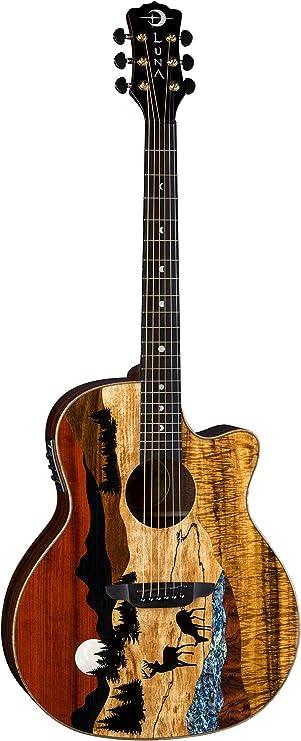 Luna VISTA DEER guitarra acústica eléctrica de madera tropical con estuche: Amazon.es: Instrumentos musicales