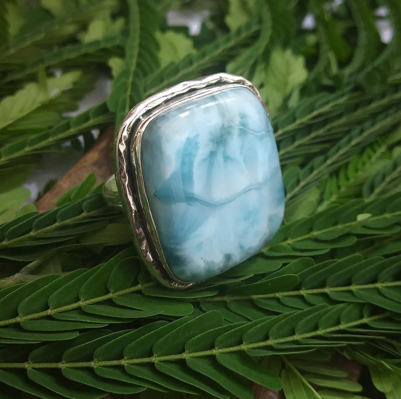Natural Larimar Ring 925 Sterling Silver Larimar Rings Dominican Republic Stone