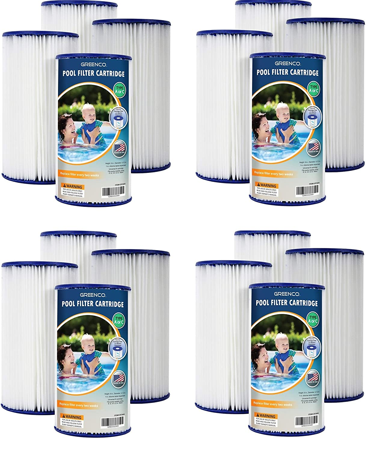 2 X Set of 4 Greenco Pool Filter Cartridges Type A or C ...