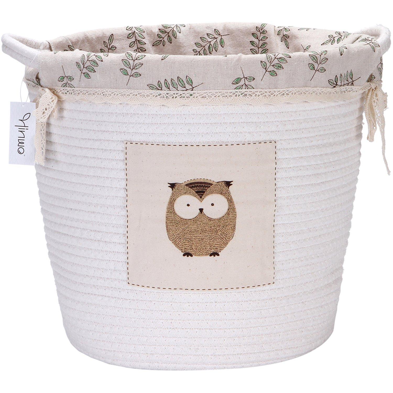 Hinwo - Cesta de almacenaje plegable para guardería, 20 L, algodón, con asas y forro de lino desmontable, diseño de búhos, 35,5 x 33 cm, color blanco HWSB0008A