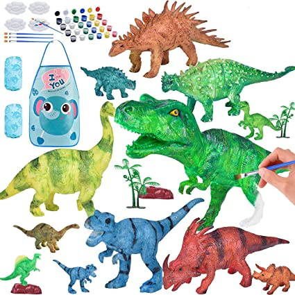 MiniToy Painting Dinosaur Kit for Kids Crafts and Arts Set Paint Your Own Dinosaur Toy Crafts for Boys Girls Kid Fun DIY Birthday Gift