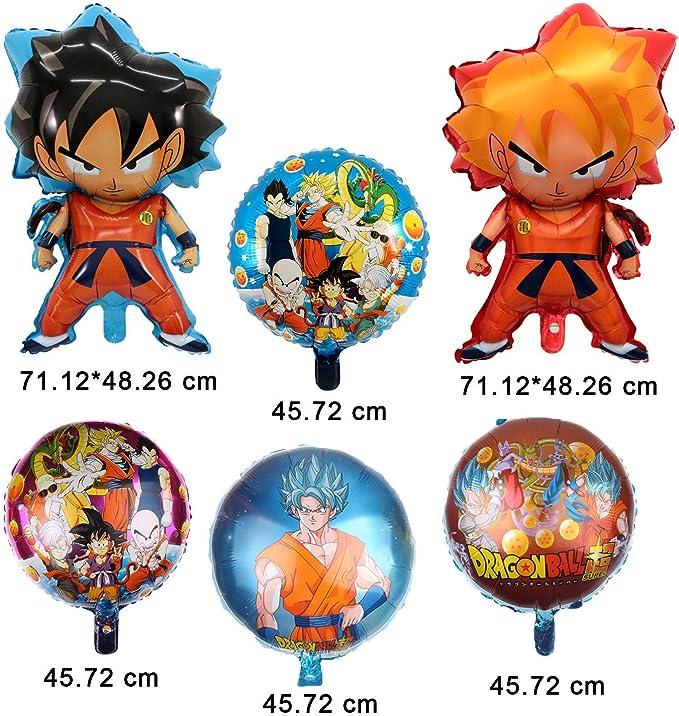 Kit de Globos de Aluminio Dragon Ball Z de 6 Piezas, decoración de Fiesta de Personaje DBZ Super Saiyan Goku Gohan de Doble Cara: Amazon.es: Juguetes y juegos
