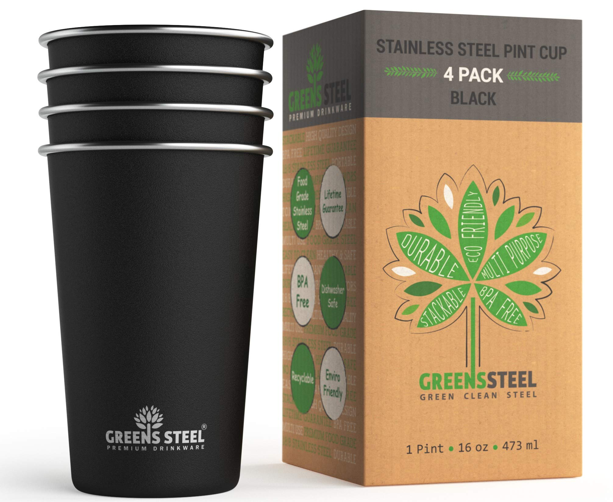 Stainless Steel Cups - 16oz Pint Tumbler (4 Pack) - Premium Metal Drinking Glasses | Stackable Durable Cup (16oz Black)