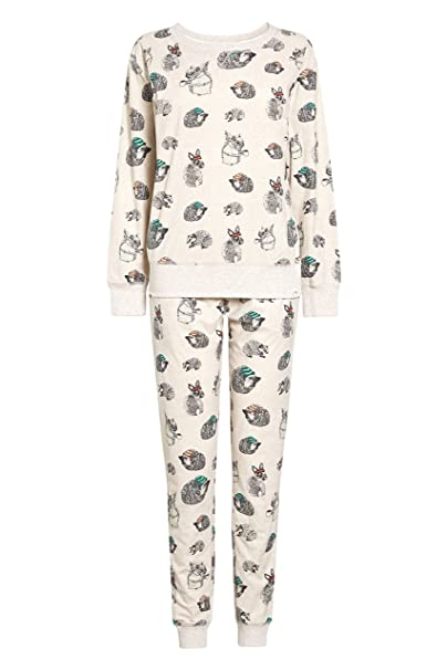 next Mujer Pijama Abrigado Neutral Estampado Forestal S Alto