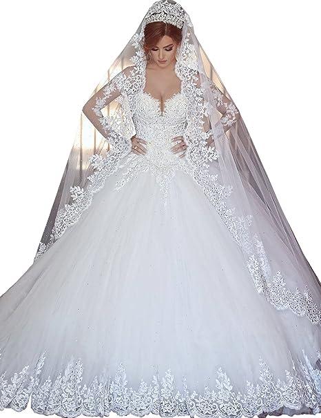 Topquality2016 Mujer Lujo Princesa Tal¨®n Cord¨®n Manga Larga Vestidos de