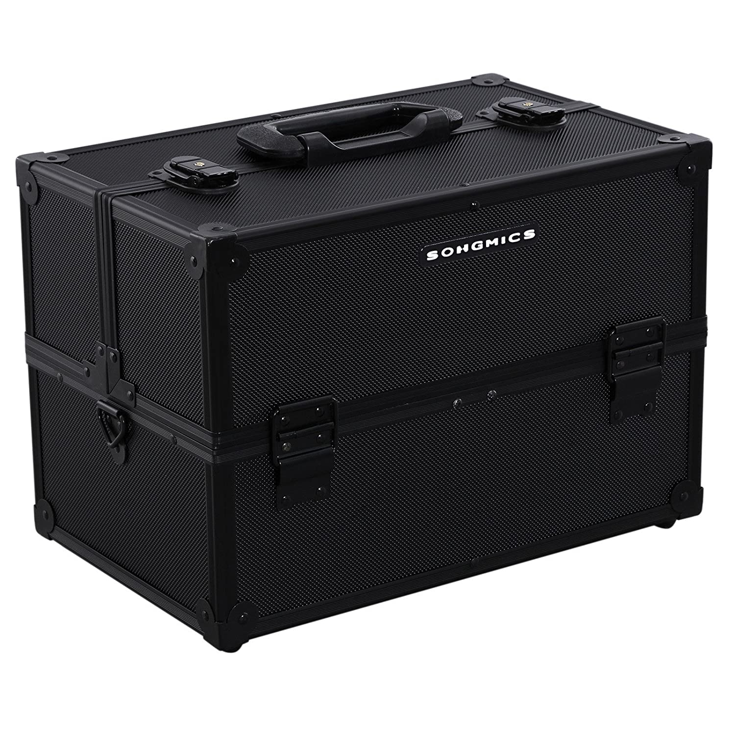 "SONGMICS 13.5"" Makeup Train Case Lockable Portable Large Cosmetic Box with 8 Folding Trays and Shoulder Strap Black UMUC14B"