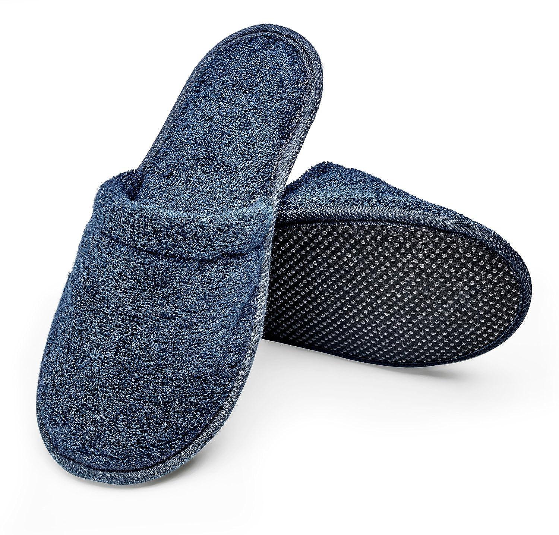 Arus Men's Organic Turkish Terry Cotton Memory Foam Spa Slippers