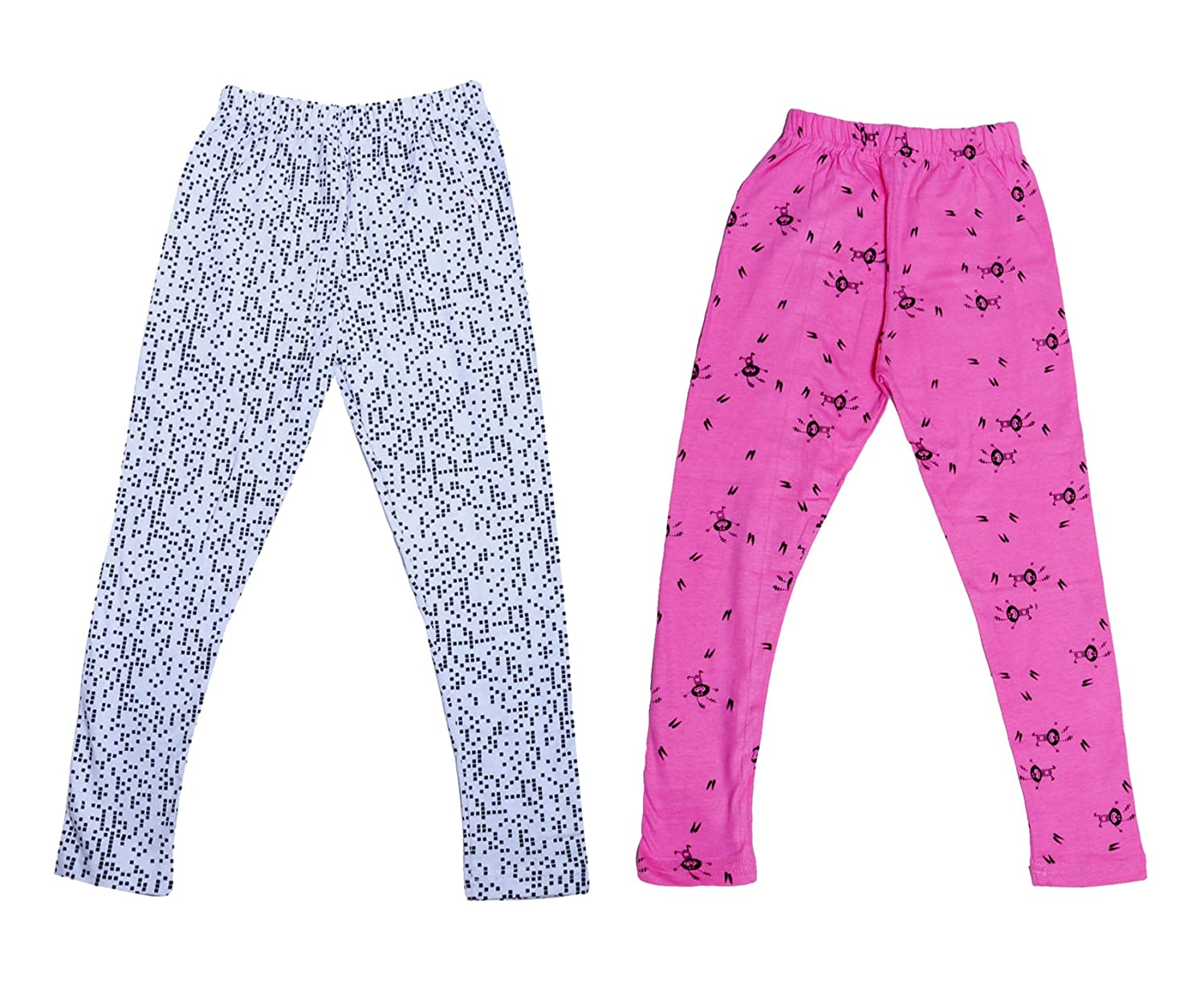 Indistar Girls Super Soft and Stylish Cotton Printed Churidar Legging Pack of 2