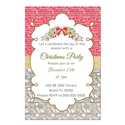 amazon com 30 invitations rustic christmas wood words red party