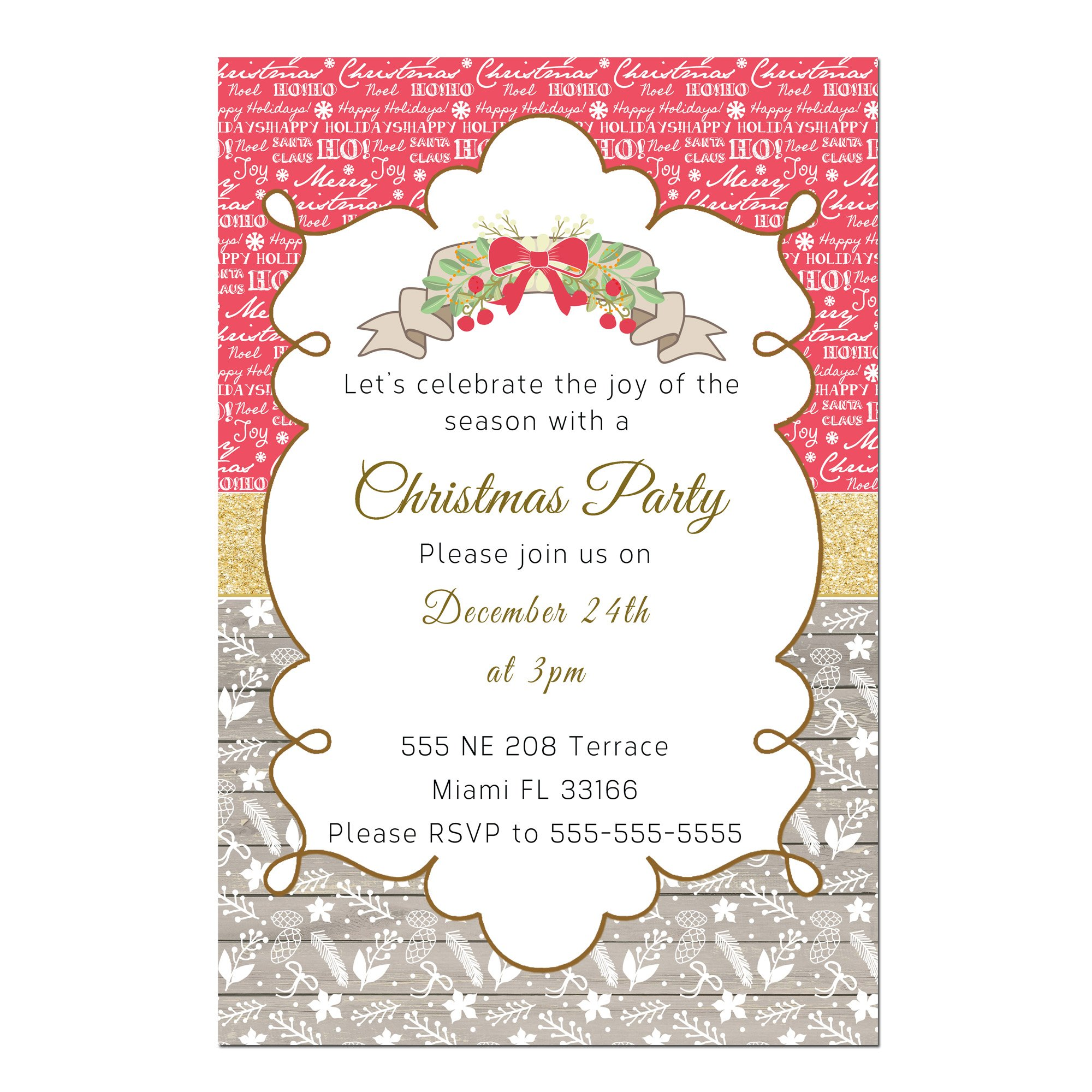 30 Invitations Rustic Christmas Wood Words Red Party Personalized Cards + 30 White Envelopes