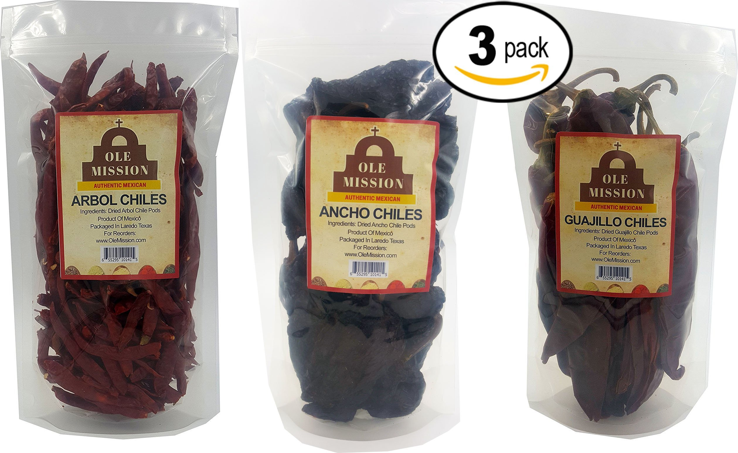 Ole Mission Dried Chili Pepper 3 Pack Bundle - Ancho, Guajillo, Arbol The Holy Trinity of Chiles 12oz Total Weight by