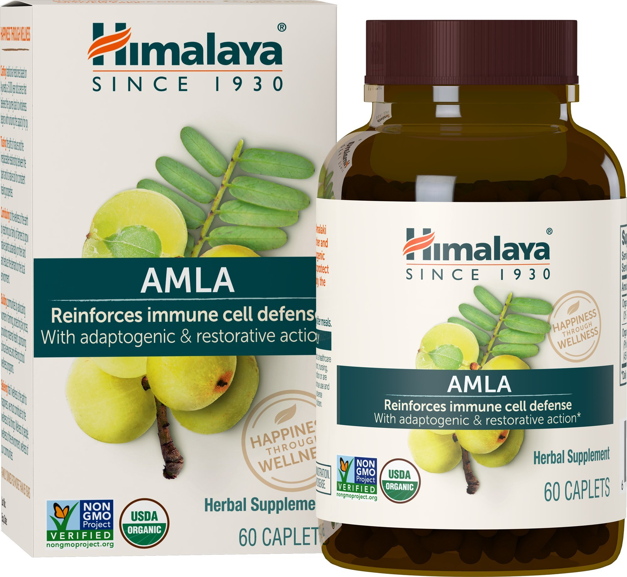 Himalaya Organic Amla, Equivalent to 1,406 mg of Amla Powder, Natural Antioxidant for Immune Support, 60 Caplets, 1 Month Supply