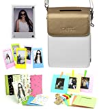 CAIUL 5 in 1 Fujifilm INSTAX SHARE SP-2 Smart Phone Printer Accessories Bundles (Gold SP-2 Case/ Magnetic Frame / Wall Hang Frames/ Film Frames/ Film Stickers)