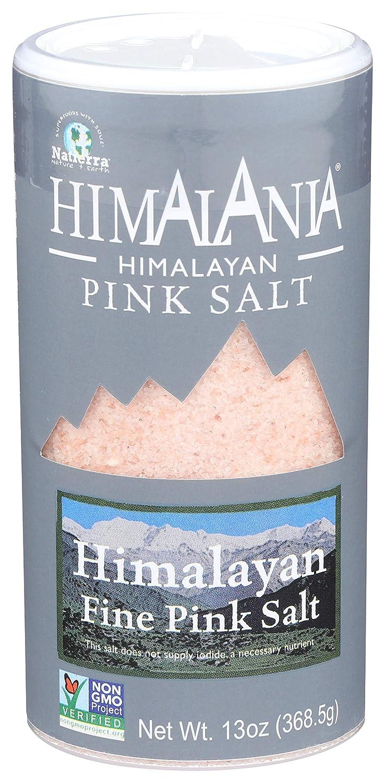 NATIERRA Himalania Himalayan Fine Pink Salt Shaker   Unrefined & Non-GMO   13 Ounce