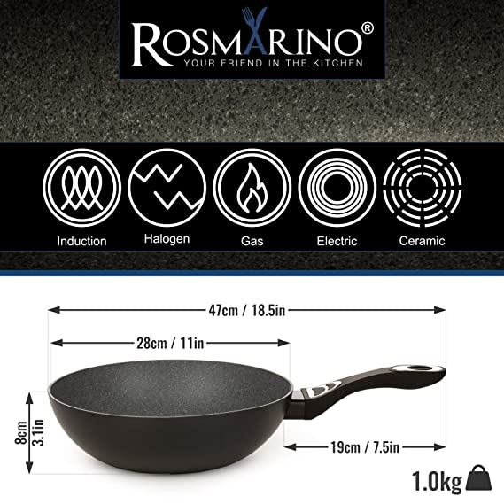 ROSMARINO - Wok de inducción (28 cm, Revestimiento de ...