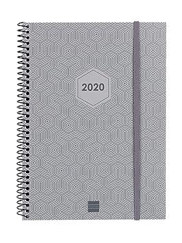 Finocam - Agenda 2020 semana vista apaisada Espiral Futura Gris ...