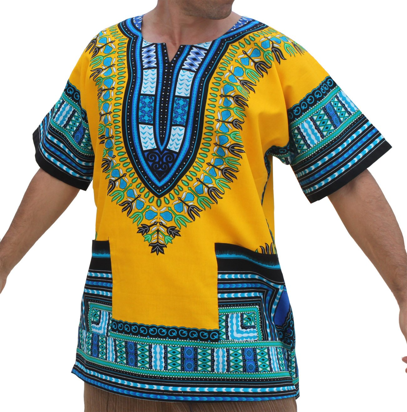 RaanPahMuang Unisex African Bright Dashiki Cotton Shirt Variety Colors, Medium, Yellow - Multi-coloured