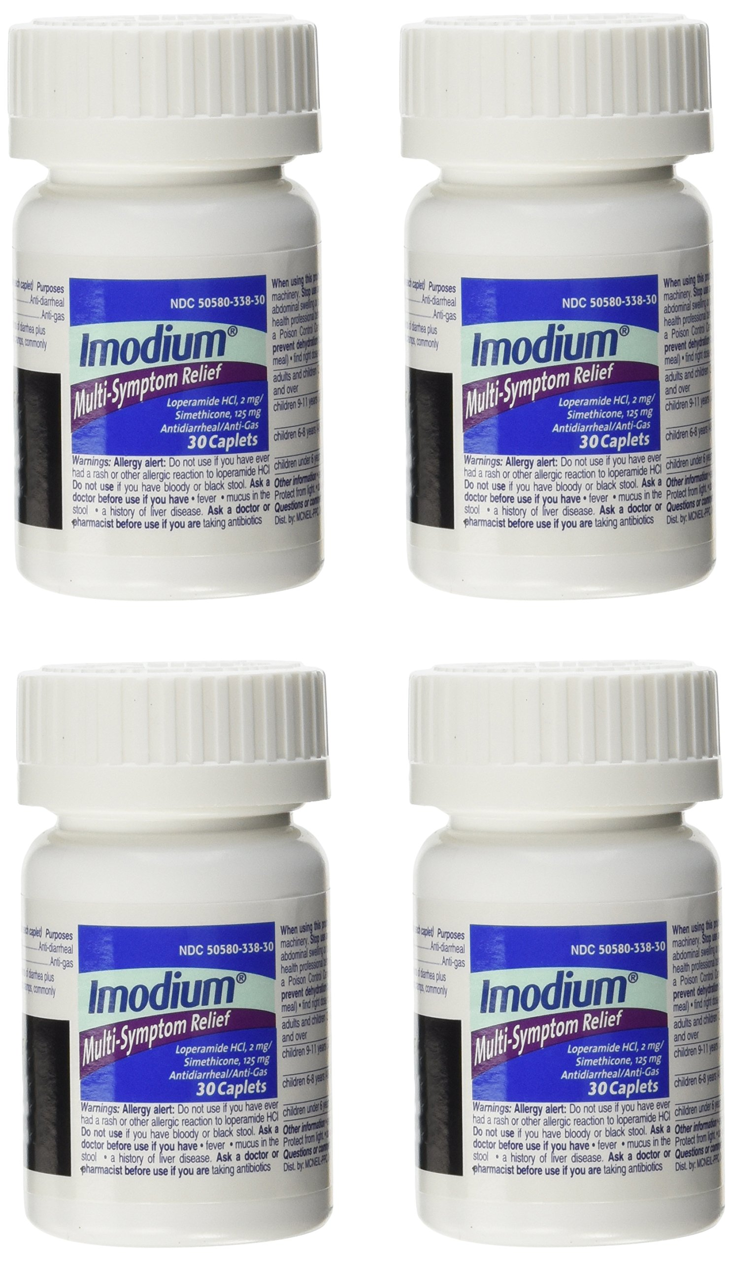 Imodium Multi-Symptom Relief - 4 Pack (30 count each), Total = 120 Count by Imodium