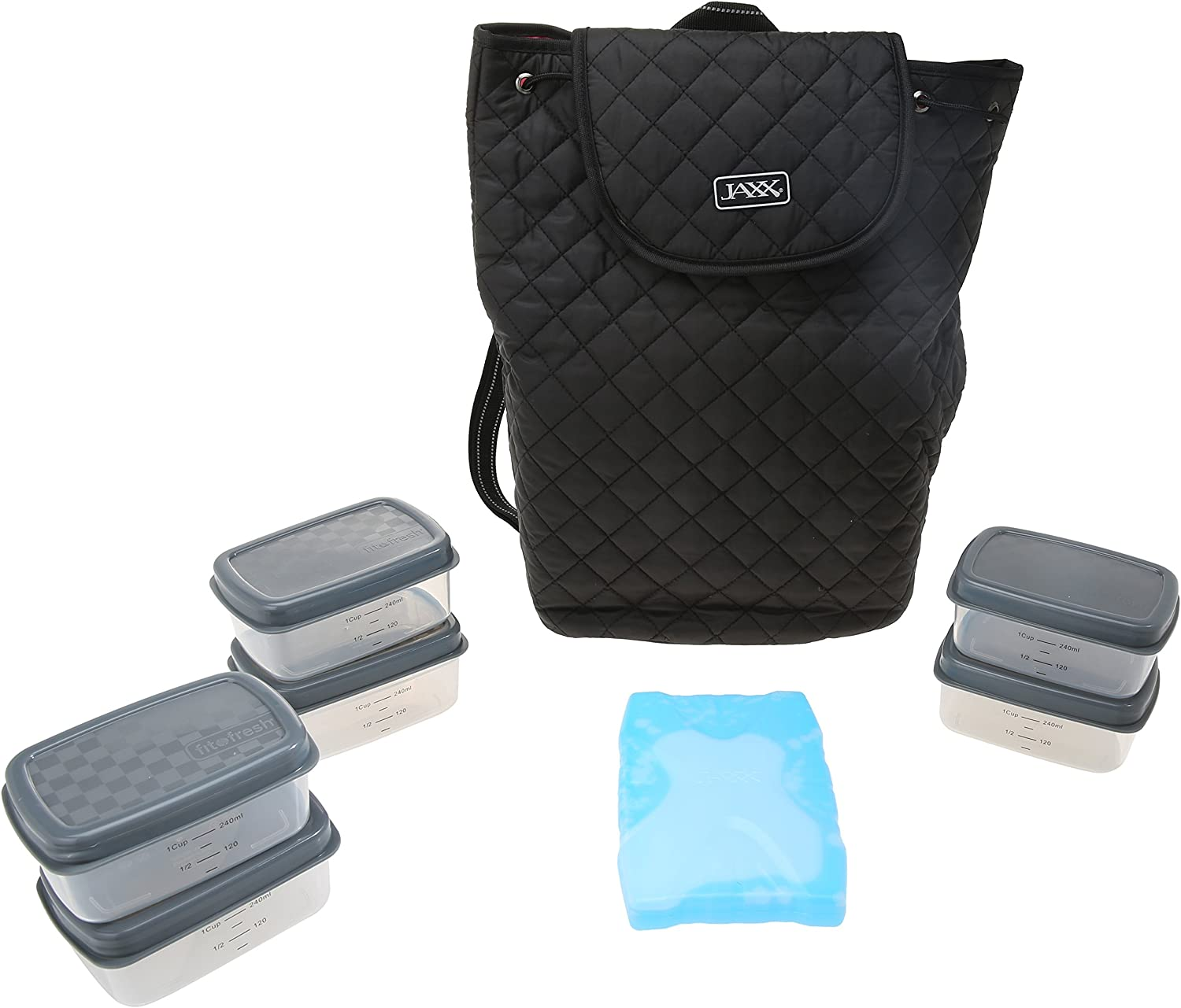 Fit & Fresh JAXX Black Quilted BACKPACK,Stylish Fitpak Meal Prep Set with Portion Control Containers, Ice Pack and Vitamin Case, Black