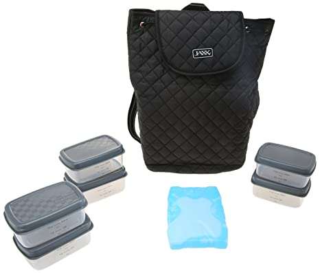 620f5a597a4 Image Unavailable. Image not available for. Color: Jaxx Quilted FitPak Meal  Prep Backpack with Portion Control Container Set