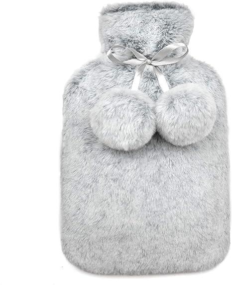 Aide /à fournir les plus de chaleur et de confort Bouillotte avec housse en peluche amovible et lavable Bouillotte Bouillotte Avec Housse Bouillotte Peluche Gris
